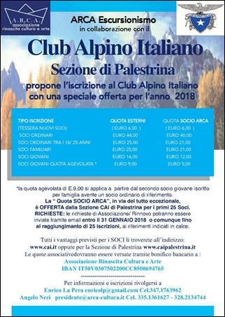 Iscrizione al CLUB ALPINO ITALIANO per l'anno 2018