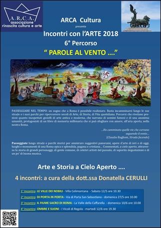 """INCONTRI CON L'ARTE 2018 – 6° Percorso  """"PAROLE AL VENTO"""" Arte e Storia a Cielo Aperto"""