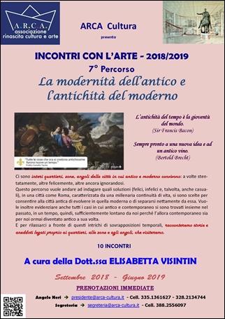 """INCONTRI CON L'ARTE 2018-2019 – 7° PERCORSO: """"La modernità dell'antico e l'antichità del moderno"""""""