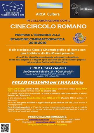 """ARCA CULTURA con il CINECIRCOLO ROMANO propone l'iscrizione alla """"STAGIONE CINEMATOGRAFICA 2018-2019"""""""