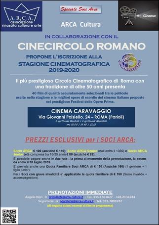 """ARCA CULTURA con il CINECIRCOLO ROMANO propone l'iscrizione alla """"STAGIONE CINEMATOGRAFICA 2019-2020"""""""