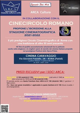 """ARCA CULTURA con il CINECIRCOLO ROMANO propone l'iscrizione alla """"STAGIONE CINEMATOGRAFICA 2021-2022"""""""