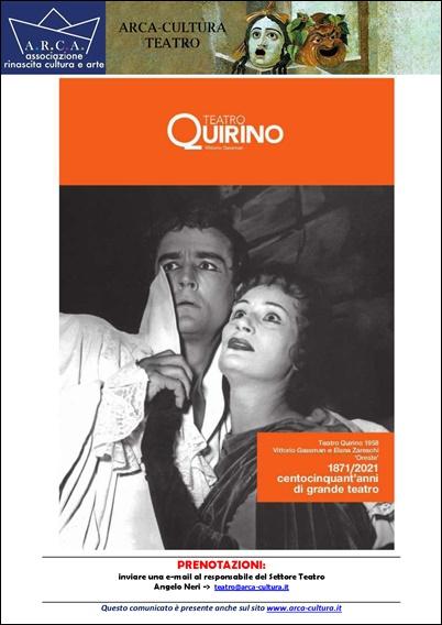 TEATRO QUIRINO – STAGIONE TEATRALE 2020/2021 – Campagna Abbonamenti